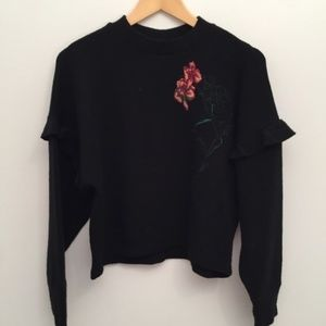Zara Collection Ruffle Black Embroidered Sweater